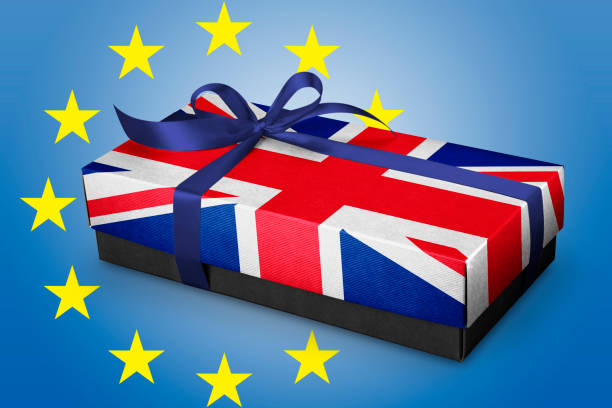 Gift box with Silk ribbon and UK Fag concept . Brexit concept stock photo
