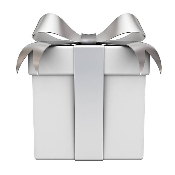 Gift box with silver ribbon bow stock photo