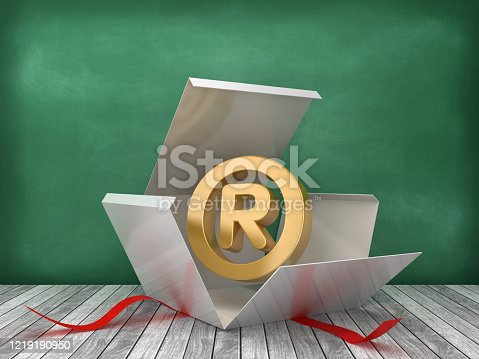Gift Box with Trademark Symbol on Chalkboard Background - 3D Rendering