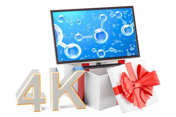 geschenk set mit tv 4k oder monitor 4k, 3d-rendering isolierten auf weißen hintergrund - desktop hintergrund hd stock-fotos und bilder