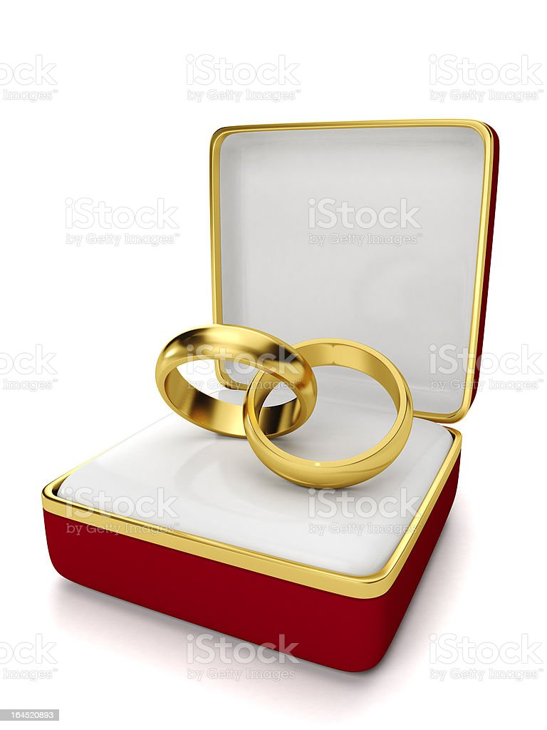 Gift box with two wedding royalty-free stock photo