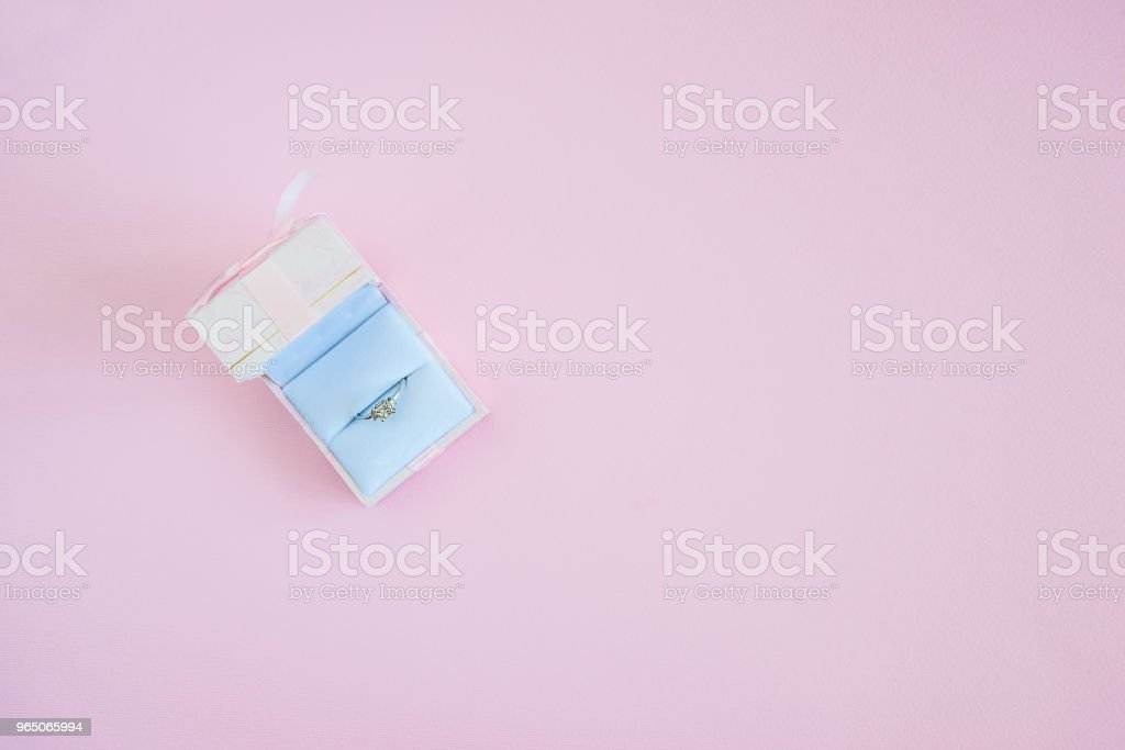 Gift box with wedding ring royalty-free stock photo