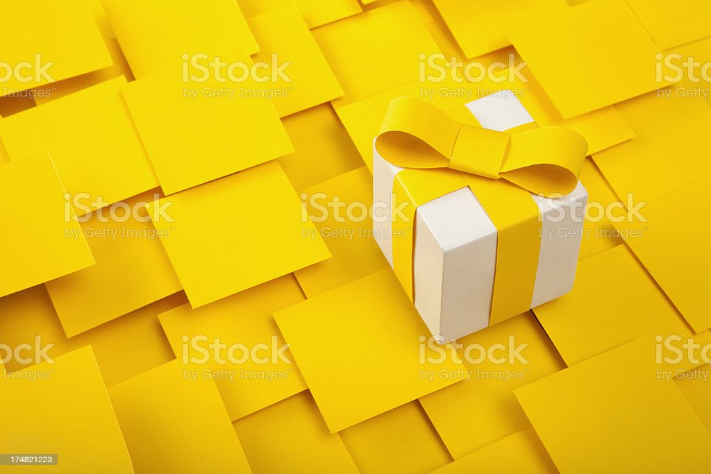 Gift Box With Yellow Ribbon royalty-free stock photo