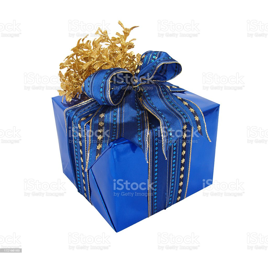 Gift  box wrapped in blue foil with ribbon and bow royalty-free stock photo