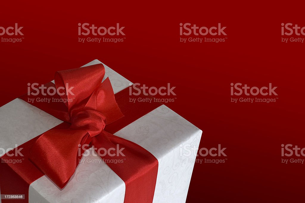 Gift Box w/Red Ribbon royalty-free stock photo