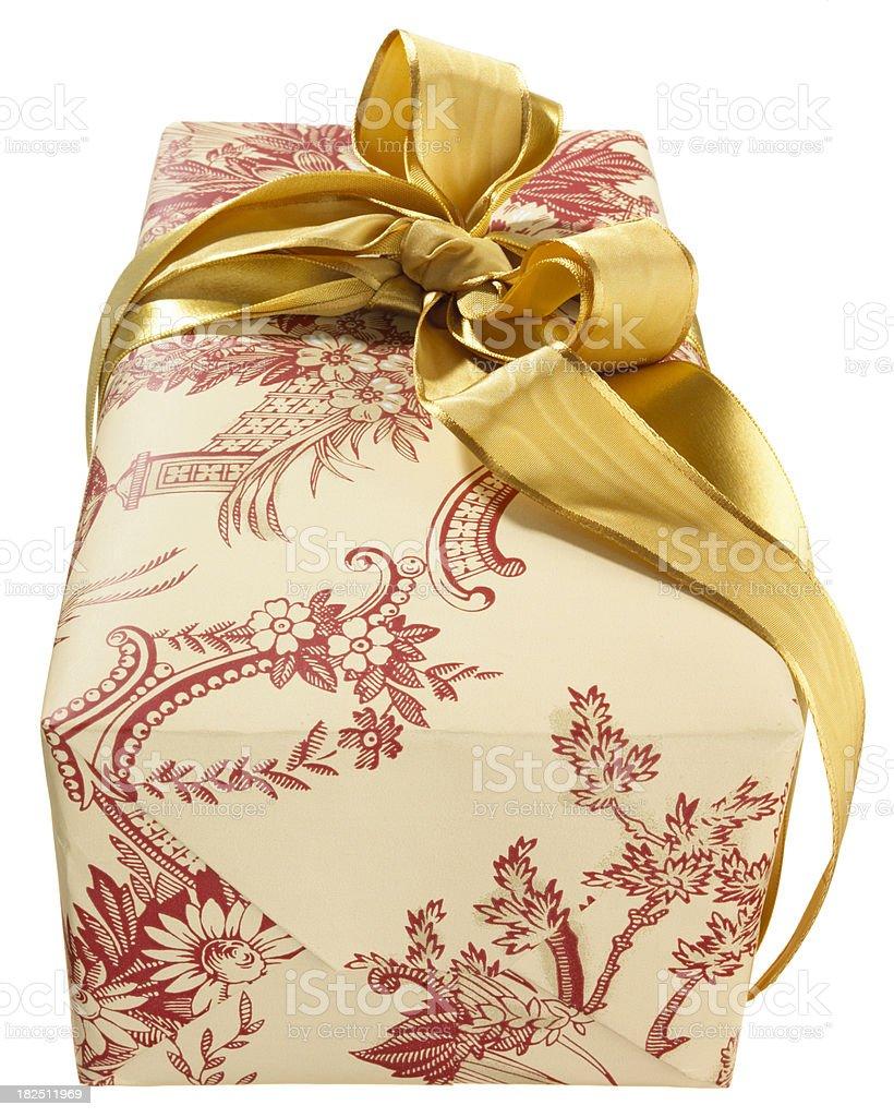 Gift Box-Creative Wrapping Gold Ribbon royalty-free stock photo