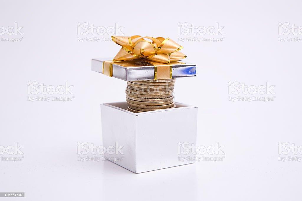 Gift Boxe full of money royalty-free stock photo