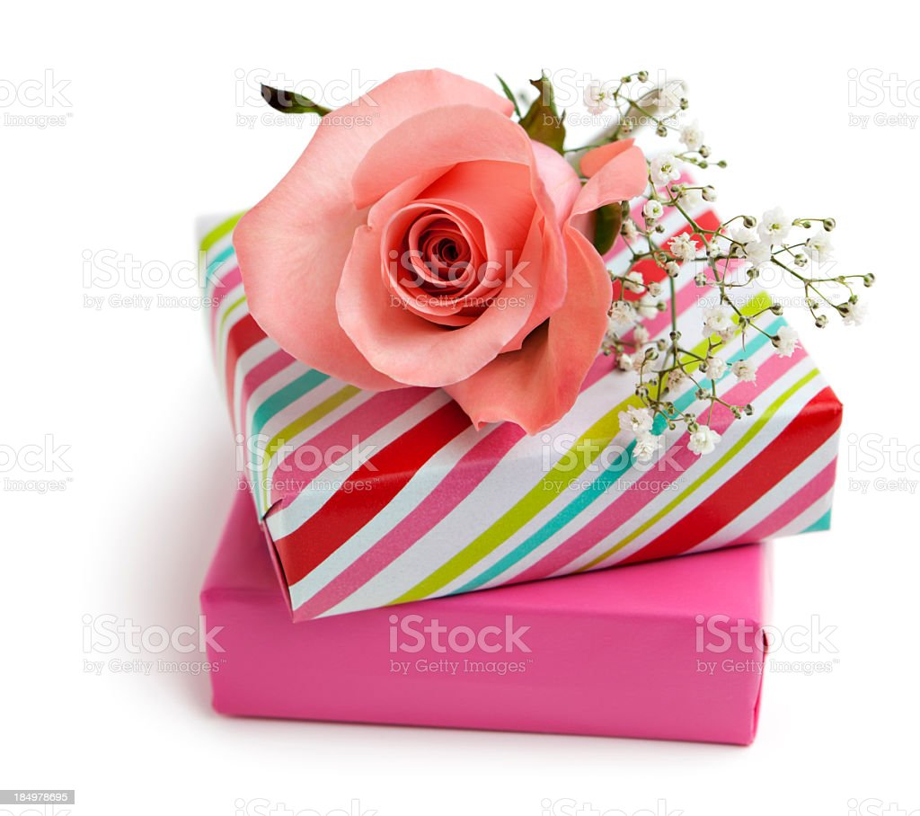 Gift boxes and pink rose royalty-free stock photo