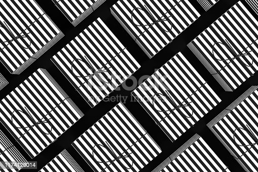istock 3D Gift Boxes Background with black and white striped lines 1174129014