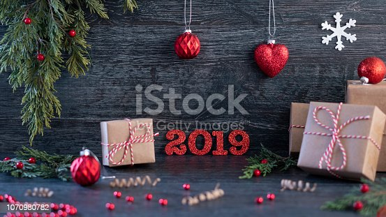 istock Gift boxes collection wrapped in kraft paper.background for christmas 1070980782