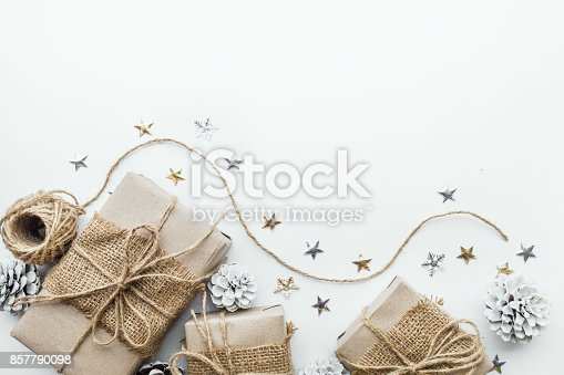 istock Gift boxes collection wrapped in kraft paper.background for christmas 857790098