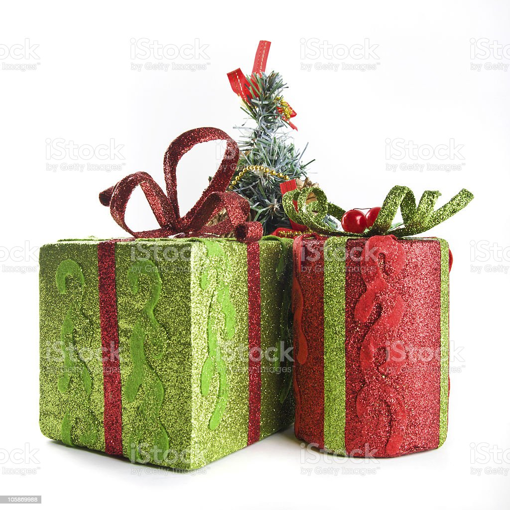 Gift boxes for a New Year celebration royalty-free stock photo