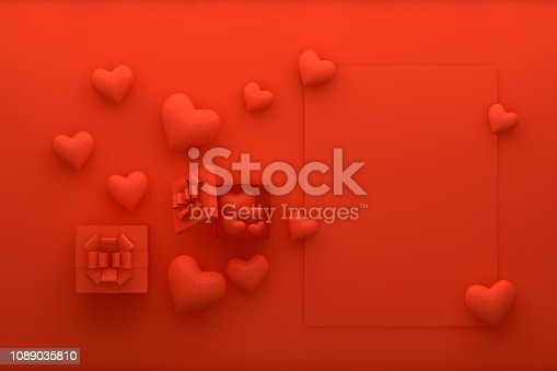 istock Gift Boxes, Hearts and Empty Greeting Card, Valentine's Day Concept 1089035810