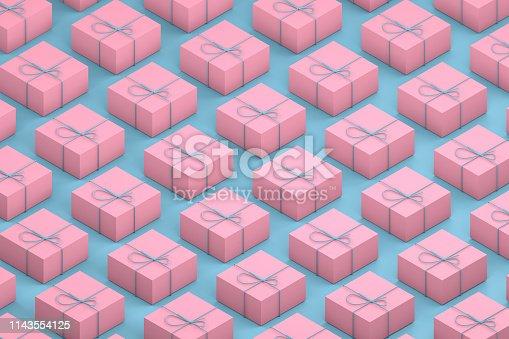 1073585628 istock photo Gift Boxes, Minimal 3d Design, Isometric View 1143554125