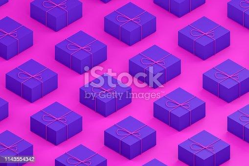 1073585628 istock photo Gift Boxes, Minimal 3d Design, Isometric View 1143554342