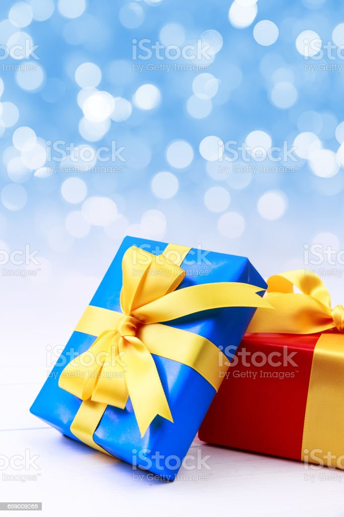 Gift boxes on blurred background. Presents. royalty-free stock photo