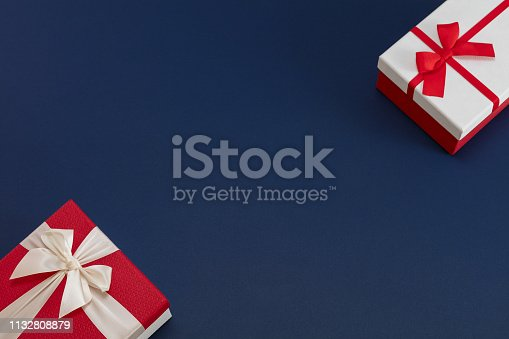 Gift boxes on navy blue background