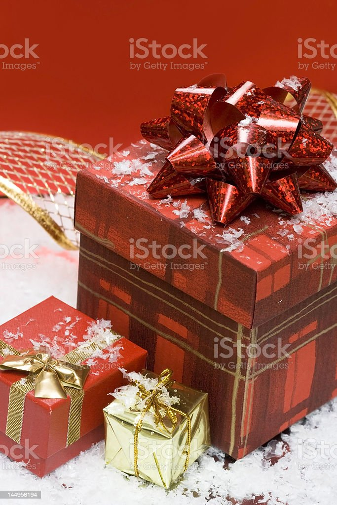 gift boxes on red background royalty-free stock photo