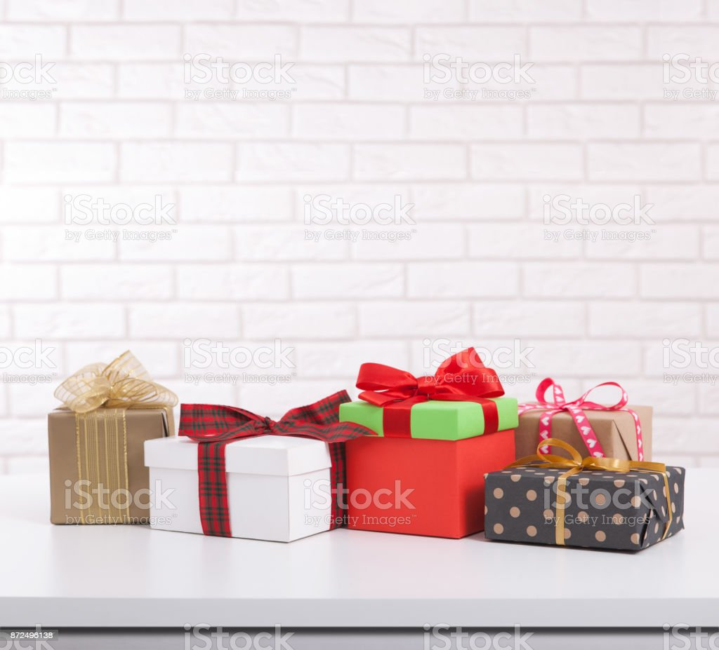 Gift Boxes On White Background Front View Wedding Invitation ...