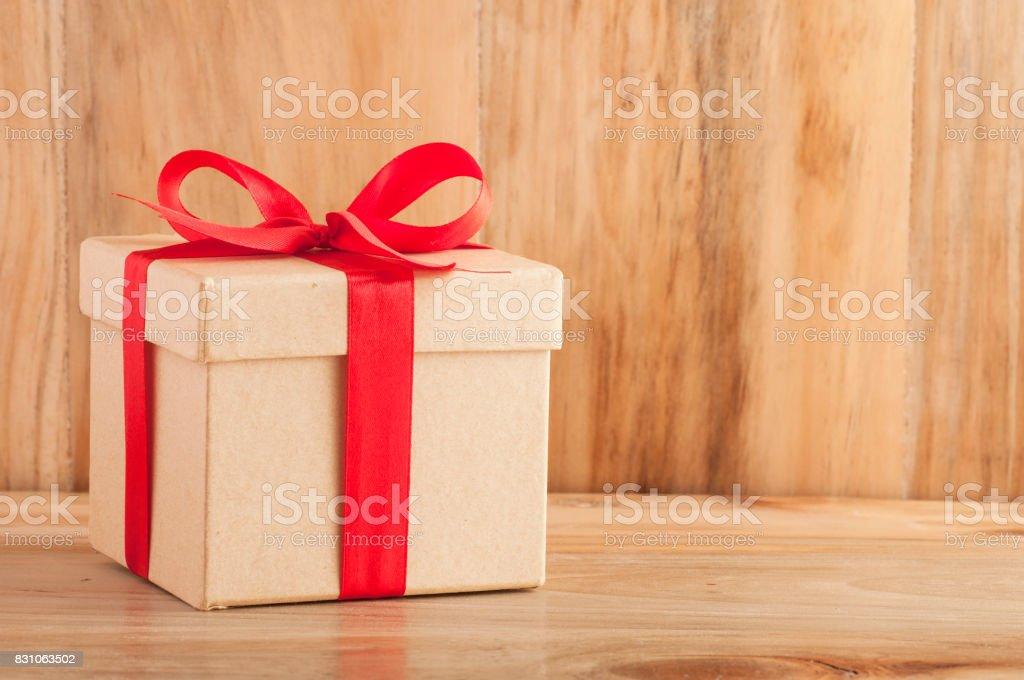 Gift boxes on wood background. stock photo