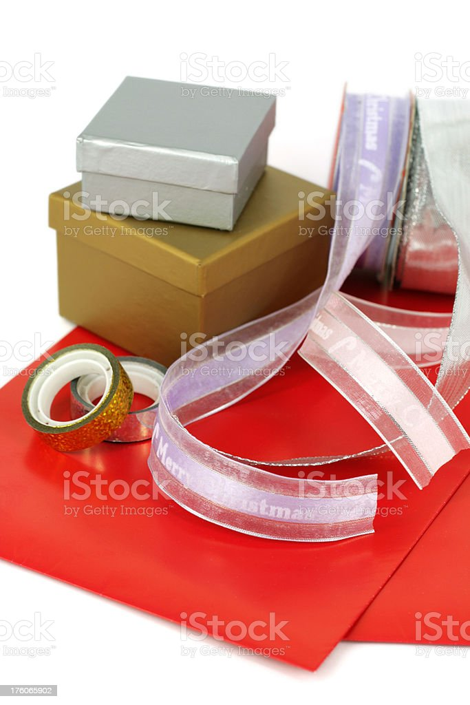 Gift boxes ready to be wrapped royalty-free stock photo
