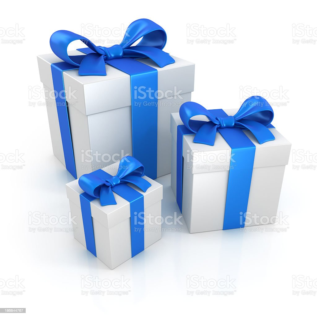 Gift boxes with blue ribbons isolated on white royalty-free stock photo