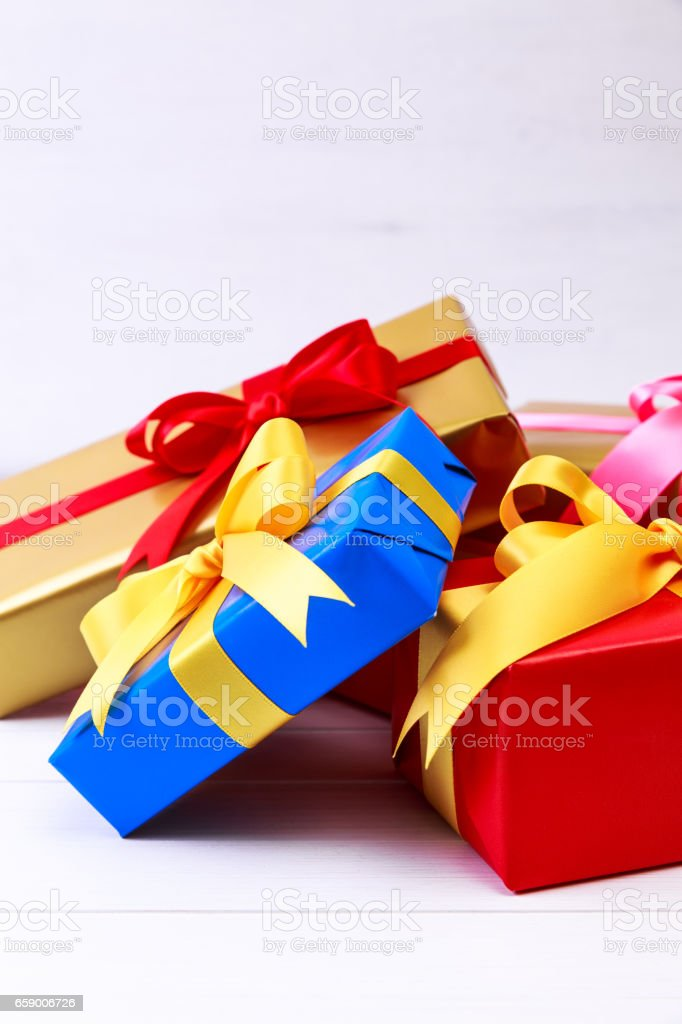 Gift boxes with bow and ribbon. Present packages. royalty-free stock photo