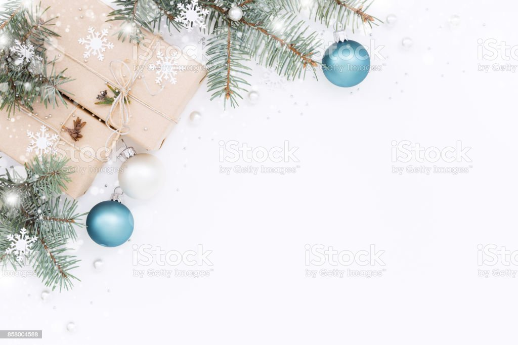 Gift boxes with Christmas decorations stock photo