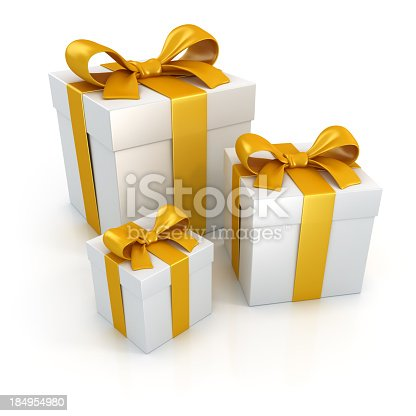 Three white gift boxes with gold ribbons isolated on white background. Digitally generated image.