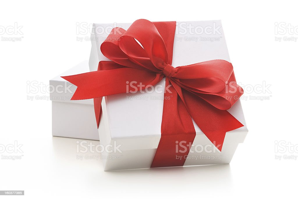 Gift boxes with red ribbon and bow stock photo