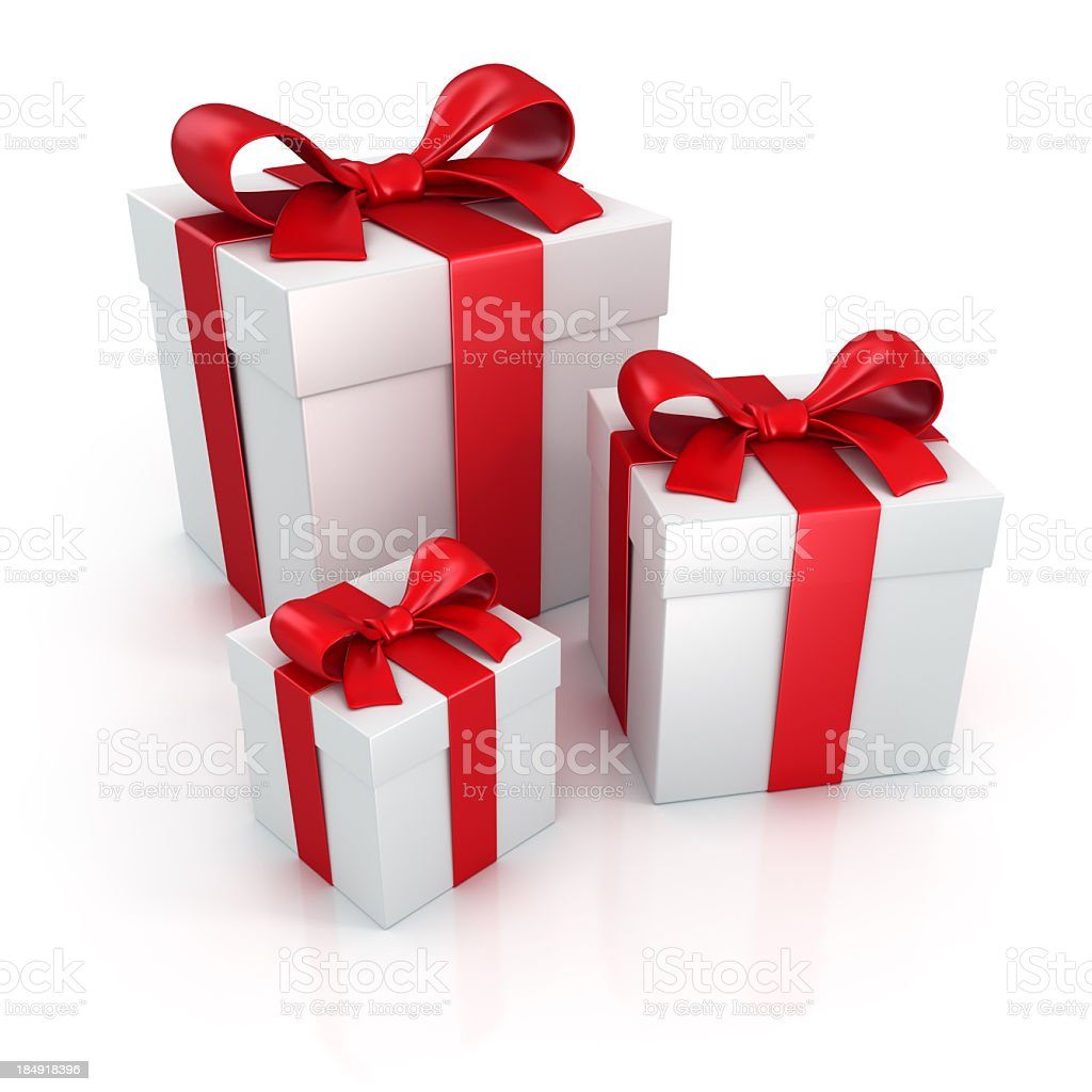 Gift boxes with red ribbons clipping path royalty-free stock photo