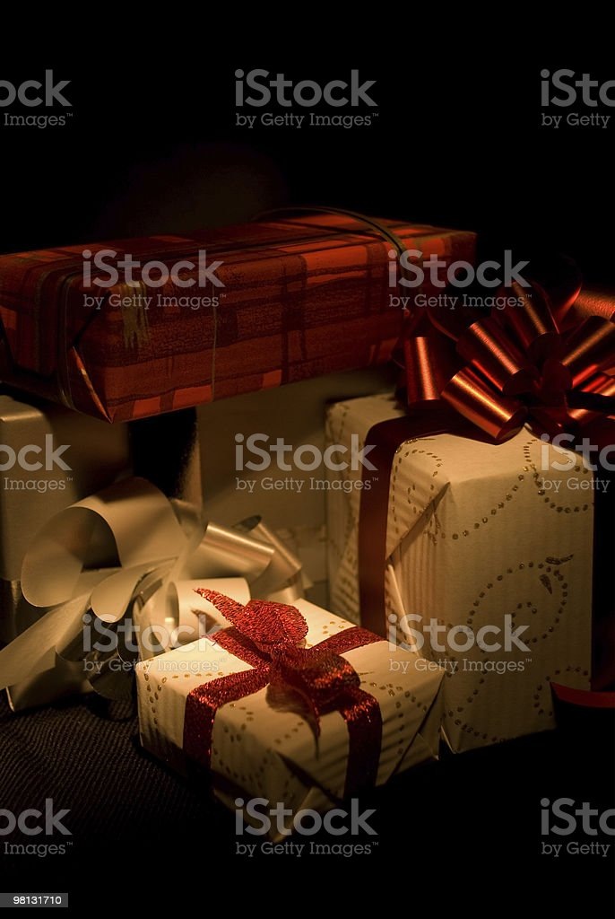 Gift boxes with red ribbons royalty-free stock photo