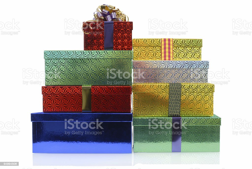 Gift boxes with ribbons royalty-free stock photo