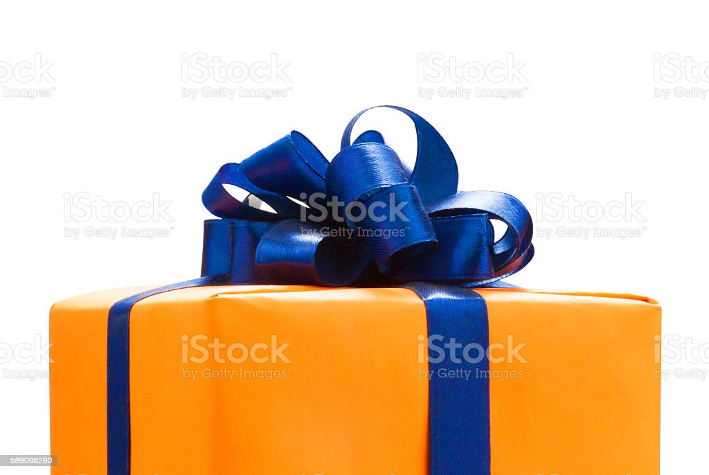 Gift boxes wrapped in Orange paper. Gift boxes wrapped in Orange paper, blue color ribbon and bow ,Isolated on white with clipping path. for anniversary, new year, christmas, birth day Anniversary Stock Photo