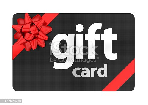 Gift Card isolated on white background. 3D render