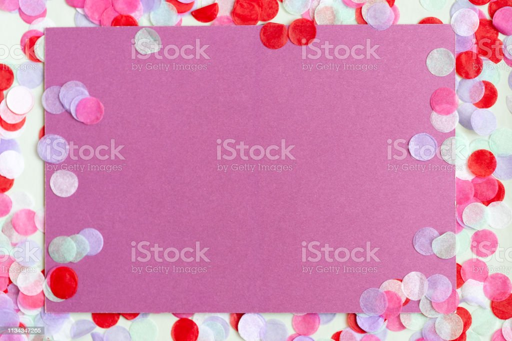 Gift Card Mockup With Colorfull Confetti Frame Copy Space For Promotion Stock Photo Download Image Now Istock