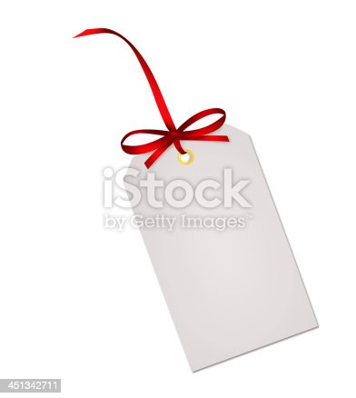 Gift card note with red ribbon bow isolated on white background
