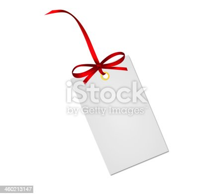 istock Gift card note with red ribbon bow isolated on white 460213147