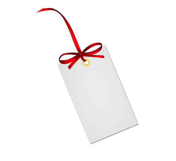 Gift card note with red ribbon bow isolated on white Gift card note with red ribbon bow isolated on white background annotation stock pictures, royalty-free photos & images