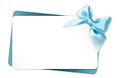 istock gift card with blue ribbon bow Isolated on white background 539980534