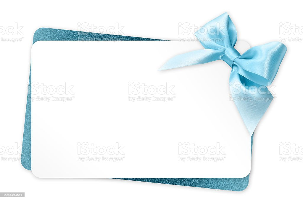 Gift Card With Blue Ribbon Bow Isolated On White Background Stock Photo