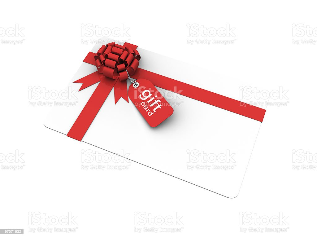 gift card with bow and price tag royalty-free stock photo