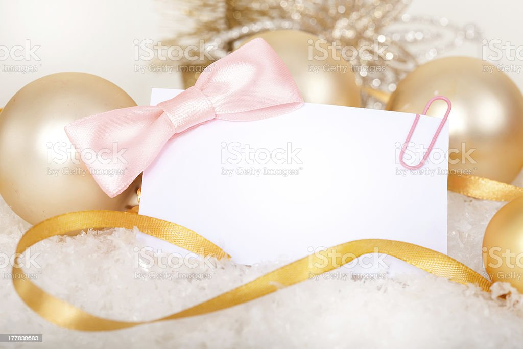 Gift card with bow. royalty-free stock photo