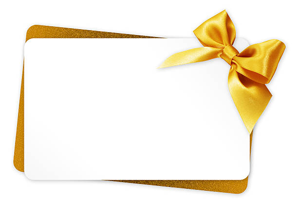 gift card with golden ribbon bow isolated on white background - happy birthday banner stock photos and pictures