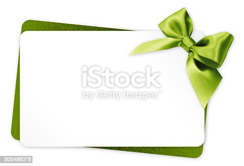 istock gift card with green ribbon bow Isolated on white background 505498078