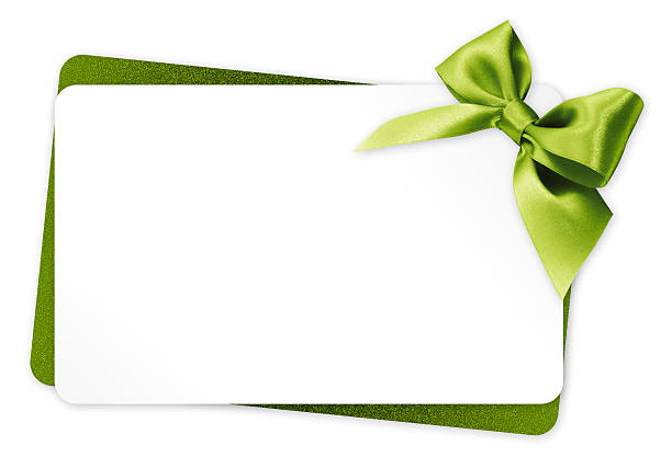 gift card with green ribbon bow isolated on white background - happy birthday banner stock photos and pictures