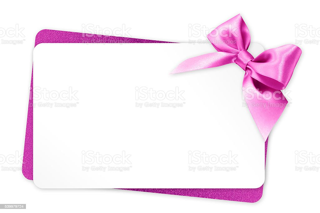 gift card with pink ribbon bow Isolated on white background stock photo