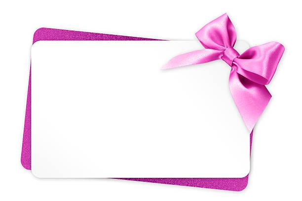 geschenk-karte mit rosa schleife isoliert auf weißem hintergrund - taufe texte stock-fotos und bilder