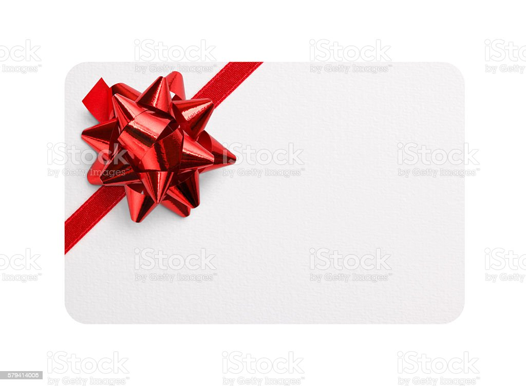 Gift card with red bow stock photo