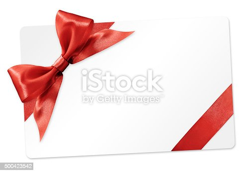 670414478 istock photo gift card with red ribbon bow Isolated on white background 500423542